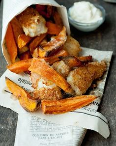 Sweet Potato Chips and Almond Crusted Fish.