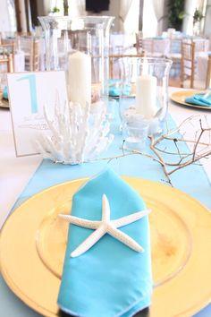 Beautiful aqua blue table setting for coastal wedding. Blue Table Settings, Place Settings, Beach Themes, Beach Ideas, Wedding Decorations, Table Decorations, Coastal Cottage, Interior Design Services, Here Comes The Bride