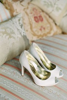 Classic White Freya Rose Shoes | On Style Me Pretty: http://www.StyleMePretty.com/2014/02/11/elegant-english-countryside-wedding/ CKB Photography