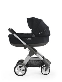 With Stokke® Stroller Carry Cot, Black.