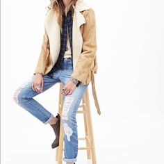Faux suede jacket Super chic and warm. Easy to go with jeans F21 Jackets & Coats Utility Jackets