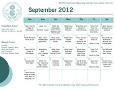 September Cleaning & Organizing Calendar.  Just one task a day will keep your home looking great and keep work from piling up!