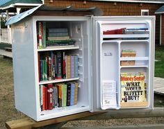 BRITISH COLUMBIA, Coalmont  #3527, Mini-fridge turned Library, now that's upcycling!