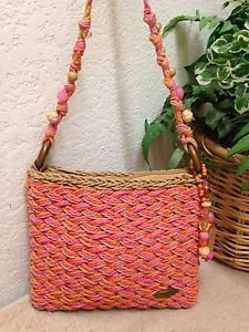 2b576b8a5844 Cappelli Straworld Pink Orange Woven Straw Crossbody Shoulder Handbag Bag  Beaded