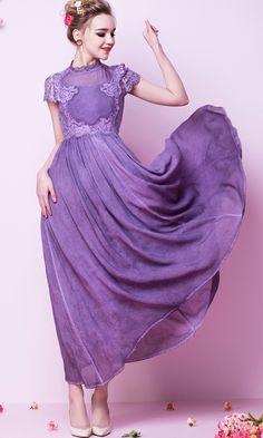 Purple Lilac Lila Short Sleeve Vintage Lace Maxi Dress 28.50