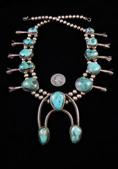 239g Vintage Old Pawn Navajo Sterling Silver Squash Blossom Necklace w Beautiful Blue Gem Turquoise! Gorgeous Old Classic!