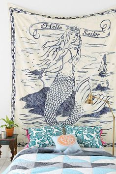 4040 Locust Scrimshaw Mermaid Tapestry - Urban Outfitters so cute! Would be a great room divider! Interior Exterior, Interior Design, Mermaid Bedroom, New Room, Dream Bedroom, Apartment Living, Living Room, My Dream Home, Dream Land