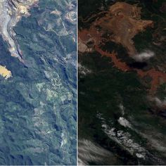 Imagens de satélite mostram o antes e depois de Mariana