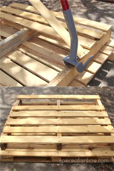 Best DIY wood pallets ideas & tips on where to find free pallets, how to dismantle & use pallet wood to make furniture, home décor, crafts, and outdoor garden projects! - A Piece of Rainbow #pallet #DIY #woodworkingprojects #woodworkingplans #homestead Pallet Shed, Pallet Crates, Wooden Pallets, Pallet Designs, Pallet Ideas, Pallet Projects, Outdoor Projects, Distressed Headboard, Pallet Ceiling