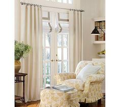Suzie: Window Treatments - Organic Basketweave Drape | Pottery Barn - drapes