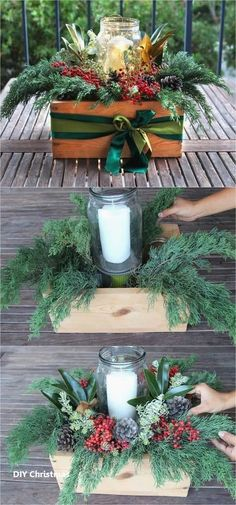 DIY Christmas table decorations centerpiece for almost free! Easy tutorial & video on how to make a beautiful Christmas centerpiece as decor & gifts i. Christmas Decor Diy Cheap, Decoration Christmas, Simple Christmas, Christmas Projects, Beautiful Christmas, Holiday Crafts, Christmas Crafts, Christmas Ornaments, Christmas Dishes
