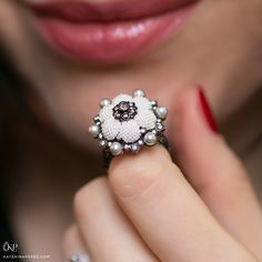 Moksh Jewellery TAANTVI ring with seed pearls and diamonds