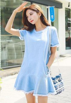 StyleOnme_Frayed Hem Short Sleeve Denim Dress #jean #dress #frayed #hem #blue #wash #koreanfashion #spring #summer
