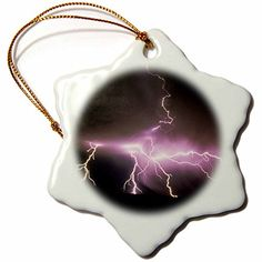 3dRose orn_90043_1 USA, Idaho. Lightning Storm-Us13 Dfr0820-David R. Frazier-Snowflake Ornament, 3-Inch, Porcelain -- More forbidden discounts at the link of image : Christmas Home Decor