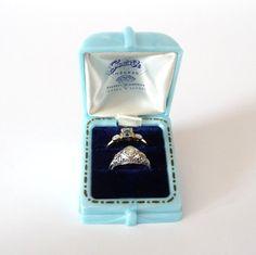 Vintage Ring Box Art Deco Blue Celluloid by TreasuresOfGrace