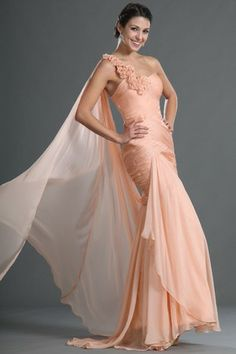 Summer Long Pleated Floor Length One Flower Strap Beach Mid Back Glamorous & Dramatic Evening Dress