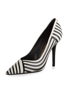 Salvatore Ferragamo Susi Striped Pointed-Toe Pump, Nero/Lait, Women's, Size: 38.5B/8.5B, Nero/L