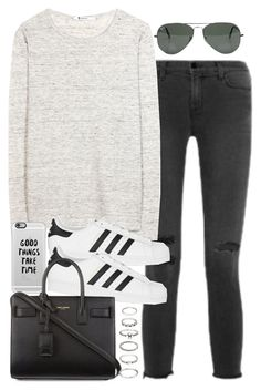 """""""Sin título #3187"""" by hellomissapple on Polyvore featuring moda, J Brand, T By Alexander Wang, adidas Originals, Casetify, Yves Saint Laurent, Forever 21 y Ray-Ban"""