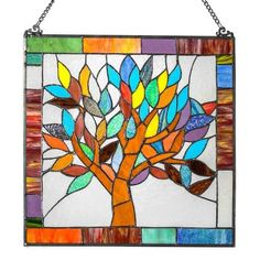 ShopHQ Shopping - Tiffany-Style Mystical World Tree Stained Glass Window Panel. Adding excitement and energy to any space, the Mystical World Tree window panel livens your décor right up. With a rainbow of fun, bright color, it hangs eas Faux Stained Glass, Stained Glass Panels, Stained Glass Projects, Home Wall Art, Wall Art Decor, Wall Decorations, Mystical World, Glass Wall Art, Window Glass