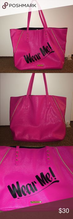 """Juicy Couture """"Wear Me"""" Tote Juicy Couture """"Wear Me"""" tote bag, 12"""" x 18"""" x 5"""" deep, shoulder strap, zipper detail, black lettering on hot pink bag. NEVER USED !! Juicy Couture Bags Totes"""
