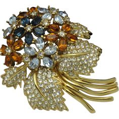 CINER  Rhinestone Multi Colored  Floral Flower Bouquet Brooch Pin