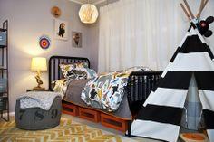 Boys room, Black Jenny Lind Bed, Striped Teepee, Grey Pouf