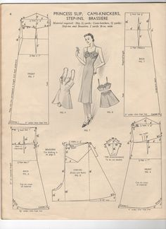 1940's undergarments. Enlarge, print and you have a FREE Pattern for Vintage Princess Slip, Cami-Knickers, Step-ins and Bra