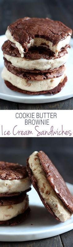 SO RIDICULOUSLY GOOD. Cookie Butter Brownie Ice Cream Sandwiches have thin yet ultra chocolaty and chewy brownie cookies sandwiching a layer of homemade cookie butter ice cream! A recipe to keep.