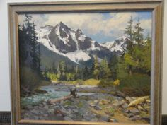 Vtg-Fine-Art-1970-KEN-GORE-Painting-Oil-on-Masonite-IN-THE-ROCKIES-30-x-36