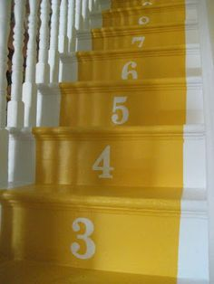 If your stairs need updating, try these DIY stair makeover ideas and projects! Make your stairs full of style! Stenciled Stairs, Painted Stairs, Basement Staircase, Staircase Design, Staircase Ideas, Garage Stairs, Timber Staircase, Staircase Runner, Staircase Makeover