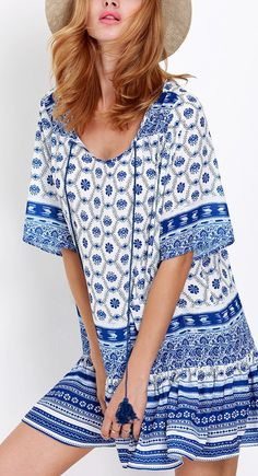 "I love SheIn""s fun styles, like this blue half sleeve tribal print :)"