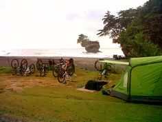 trip to adventure from coast to coast Batukaras Madasari using bicycles proceed camper
