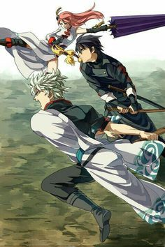 Anime: Gintama Personagens: Sakata Gintoki, Shimura Shinpachi e Kagura Manga Art, Anime Manga, Anime Art, Samurai, Gintama Funny, Gintama Wallpaper, Comedy Anime, Okikagu, All Anime