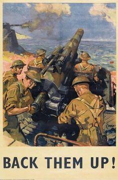 Terence Cuneo 1942 British propaganda poster world war two gun Help Britain Finish the Job Terence Cuneo 1942 British propaganda poster world war two gun Help Britain Finish the Job