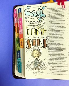 "Robin Elizabeth🎨 on Instagram: ""Make me clean!! (I really need to learn how to spell ""cleanse"") . . . . .#biblejournaling #biblejournalingcommunity #bibleart #bibleverse…"""