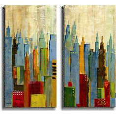 Jason Cardenas 'Towerscape' 2-piece Canvas Set | Overstock.com Shopping - Top Rated Canvas