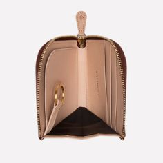 Ettinger London – Luxury Leather Goods – Saint Crispin Collection – Burnishable calf, silky soft leather. Zipped curved wallet with key strap in Bracken brown on the outside and eggshell beige on the inside.