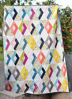 Modern Diamonds Cotton Steel Large Throw Quilt by ericajackman Strip Quilts, Scrappy Quilts, Quilt Blocks, Patchwork Quilting, Quilting Projects, Quilting Designs, Sewing Projects, Quilt Modernen, Patch Aplique