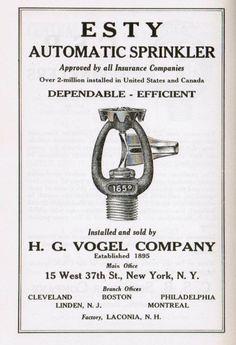 1941 ESTY Fire Sprinkler Advertisment