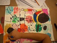 The Elementary Art Room!: Miro Creatures i'm not so concerned with the miro creatures, but love how they applied the background! Elementary Art Rooms, Art Lessons Elementary, Kindergarten Art, Preschool Art, Artists For Kids, Art For Kids, First Grade Art, Oil Pastel Art, Oil Pastels