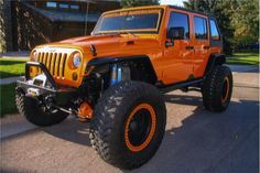 Jeep in red, he he. Wrangler Jeep, Jeep Wrangler Unlimited, Jeep Jk, Jeep Truck, Customised Trucks, Badass Jeep, Jeep Mods, Custom Jeep, Cool Jeeps