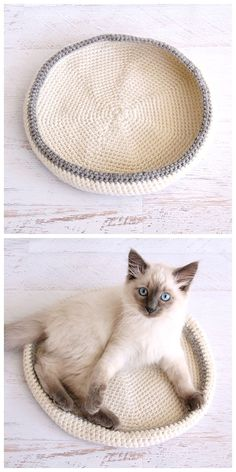 Free Pattern - This crochet cat bed is quick and easy to make for your furry friend. Click here for the tutorial to make your own pet bed.