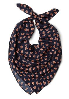 What a Daydream Scarf in Hearts - Blue, Orange, Print, Casual
