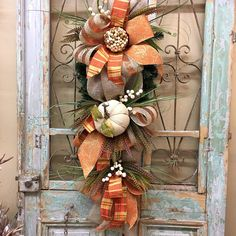 Your place to buy and sell all things handmade Fall Swags, Fall Wreaths, Halloween Door Decorations, Fall Decorations, Burlap Pumpkins, Fall Halloween, Halloween Ideas, Door Swag, Fall Door