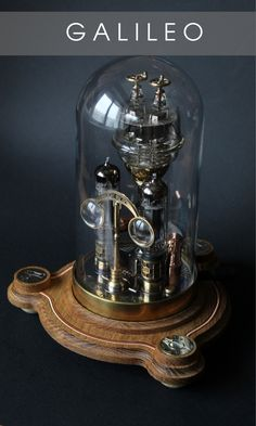 Steampunk desk lamp Galileo is straight out of the fantastic steam era. Ideal combination of brass wood and glass. Every detail is hand made and soldered. The lamp contains very bright, replaceable LEDs Steampunk Machines, Steampunk Desk, Arte Steampunk, Steampunk House, Steampunk Interior, Room Lamp, Desk Lamp, The Bell Jar, Bell Jars