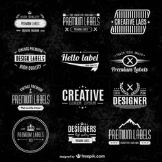 Free Vintage Vector Badges and text designs: See the other collections here: http://www.creativebeacon.com/6-free-vintage-badges-and-elements/