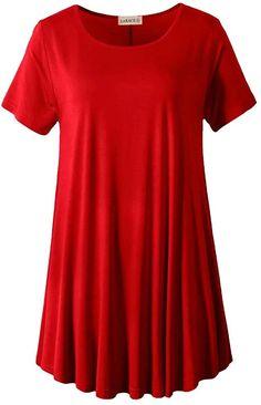 Amazon.com: LARACE Women Short Sleeves Flare Tunic Tops for Leggings Flowy Shirt: Clothing