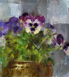 "Daily Paintworks - ""pansies"" - Original Fine Art for Sale - © Taisia Kuklina"