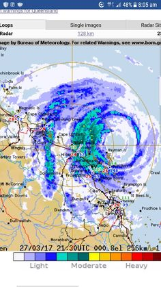 Cyclone Debbie 85 klm from Bowen. Queensland Australia. 5 hours approx to eye hitting with upvto 256 klm wind gusts. B.O.M. Aust satellite. 8am EST.