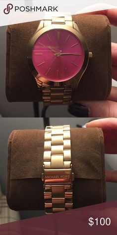 Michael Kors authentic watch. Never used! Brand new Michael Kors watch. Gold band with pink face Michael Kors Accessories Watches